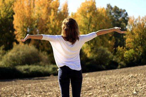 respirer, nature, apprécier, joie