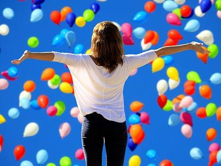 vivre la joie, ballons multicolore