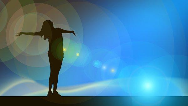 femme, respirer, vacances,ciel bleu, liberté